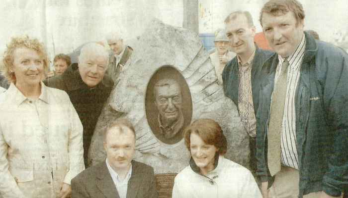 The Haughey family surround the comemmorative monument to Charles J. Haughey, unveiled in Dingle - 2005